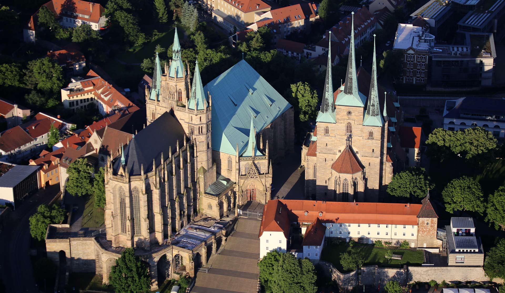 Mariendom und Severikirche Erfurt - Ballonfahren über Thüringen